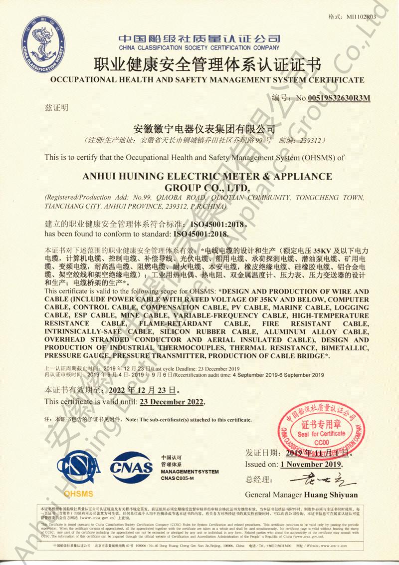 职业健康安全管理体系证书(徽宁厂&集团)